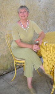 I wish I had a bigger photo of April, but until I get one, here she is, sipping wine in Provence.