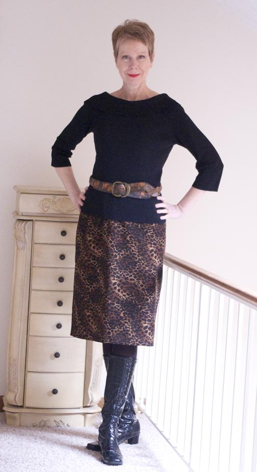 Leopard print belted