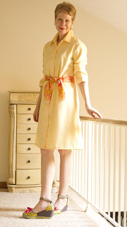 Yellow seersucker dress