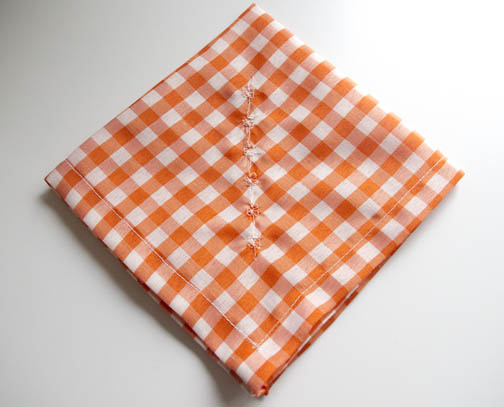 Orange checked hankie