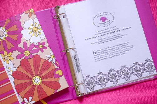 The notebook and journal that accompanies the sweater on its yearlong journey and gives instructions to sponsors.