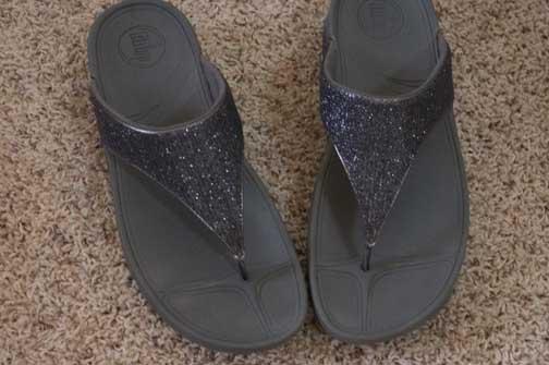 Silver flip flops