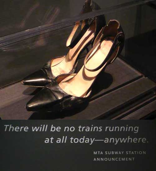 Michelle Martocci, a financial executive working in the World Trade Center, wore these four-inch stilettos while helping her entire office evacuate. She was still wearing them as she ran down the stairs to safety from the 62nd floor of the World Trade Center's South Tower.