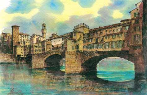 A postcard of Il Ponte Vecchio